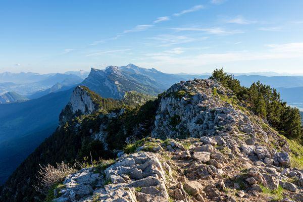 Le massif du Vercors depuis le sommet du Moucherotte